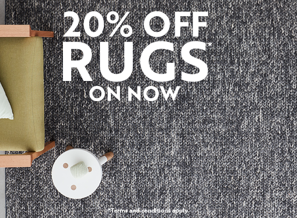 Save on rugs in the 20% off rug sale