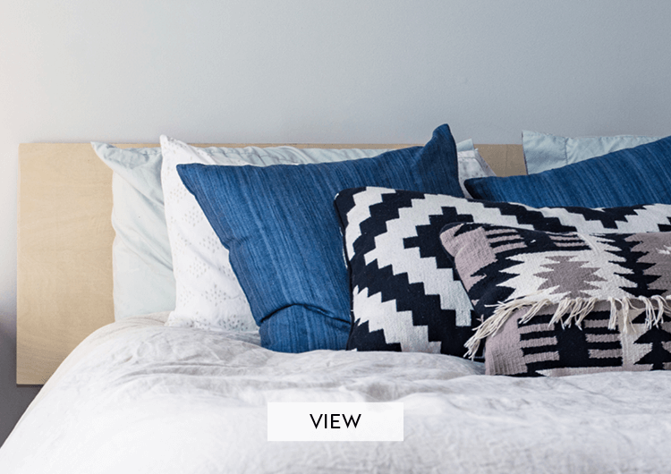 blue and white cushions