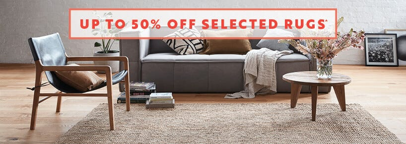 up to 50% off rugs sale on now